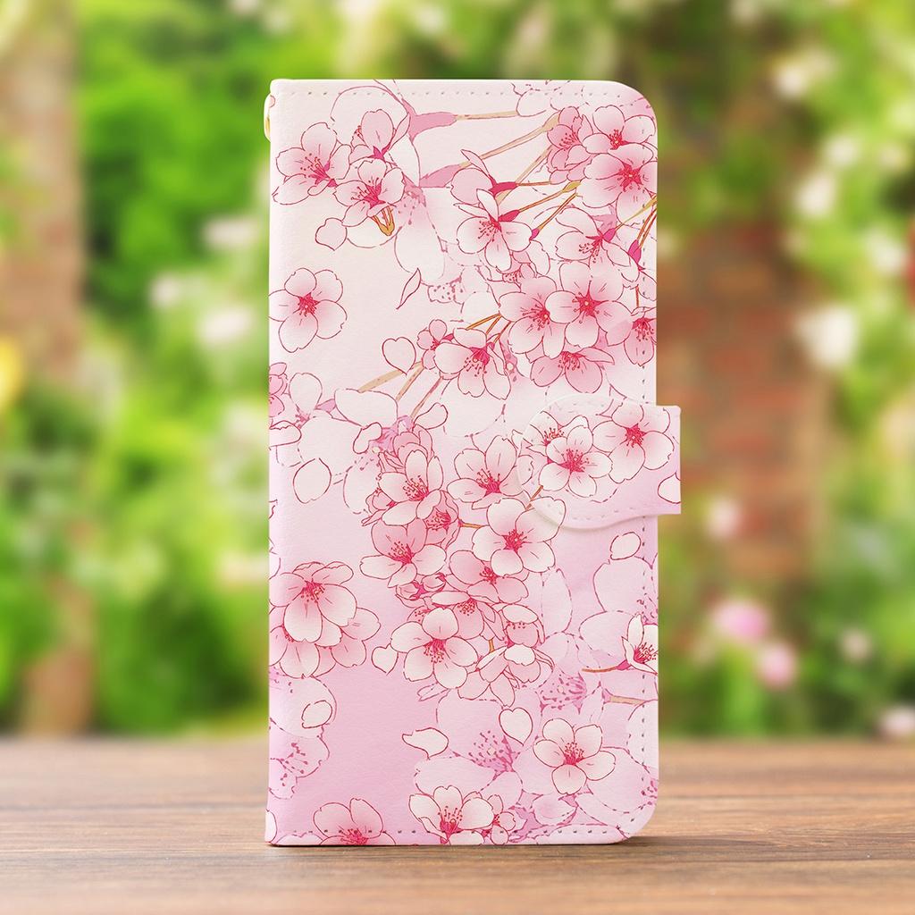 【カメラ穴あり】iPhone/Android対応 桜ピンク【手帳型スマホケース】