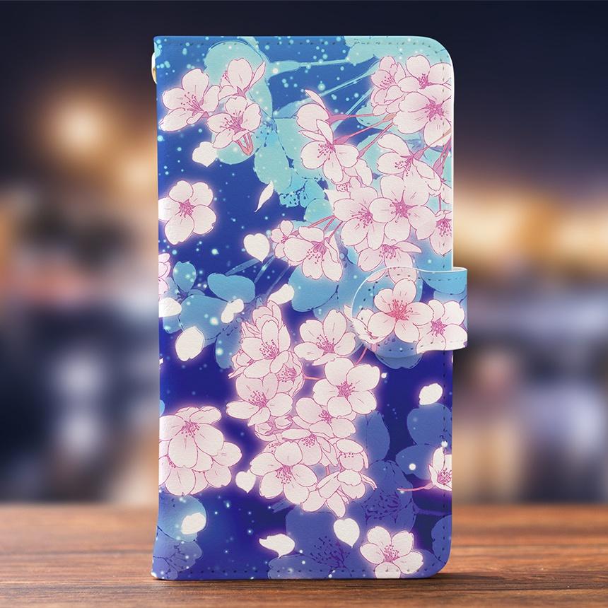 Android iPhone両対応【ミラー付き手帳型スマホケース】夜桜