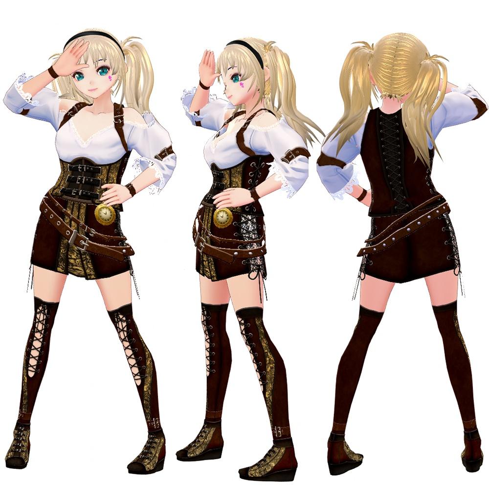 【VRoidVRM3Dモデル】スチームパンク-Rina-上着/スカート/靴/タイツ4点セット