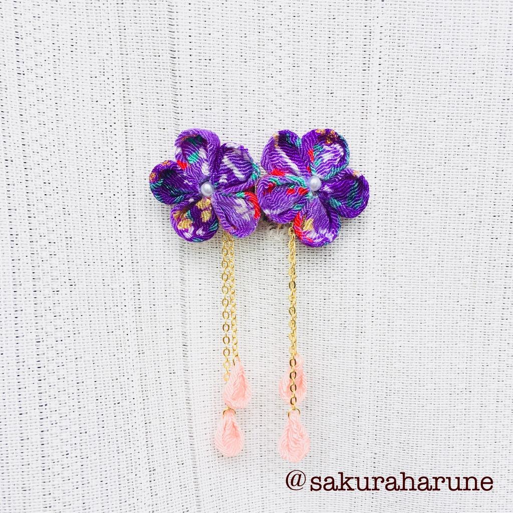 花びらゆれる。ちりめん つまみ細工(紫)@イヤリング