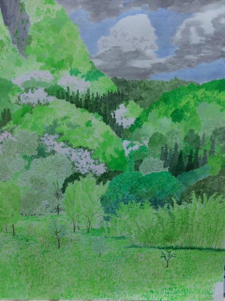 『新緑と山桜』