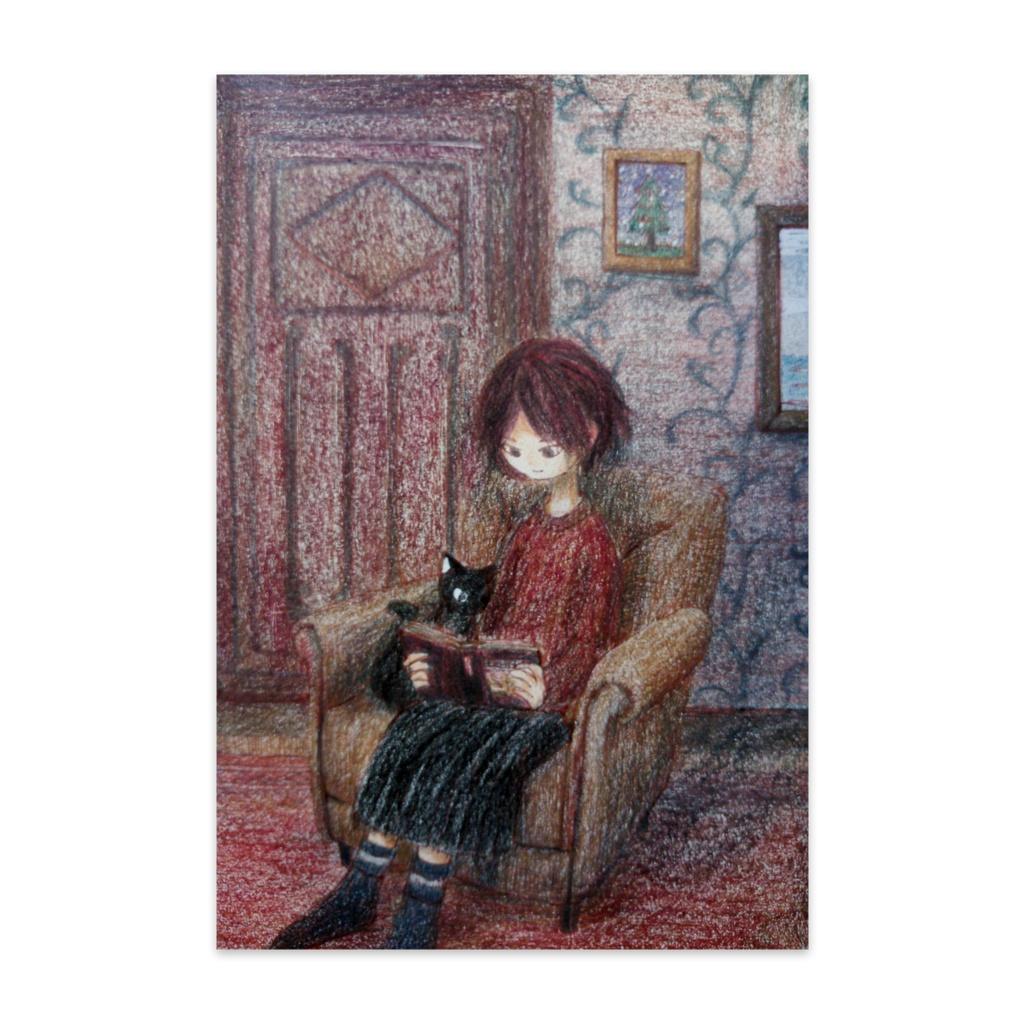 黒猫と読書-ポストカード