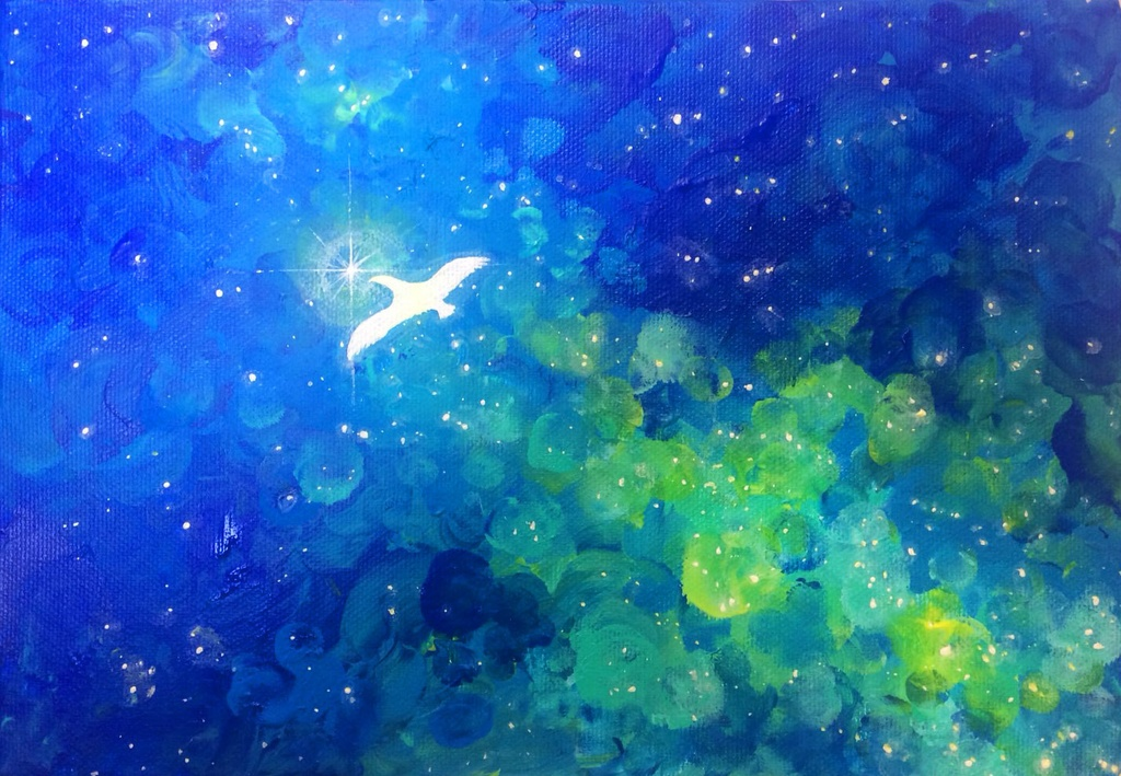 G-09 原画「つばさと星と平和と-Blue-」