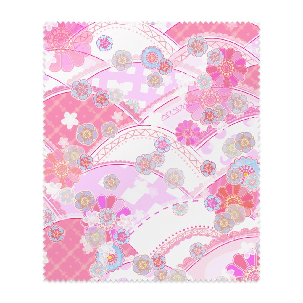 ポップな和柄と花のメガネ拭き(ピンク)