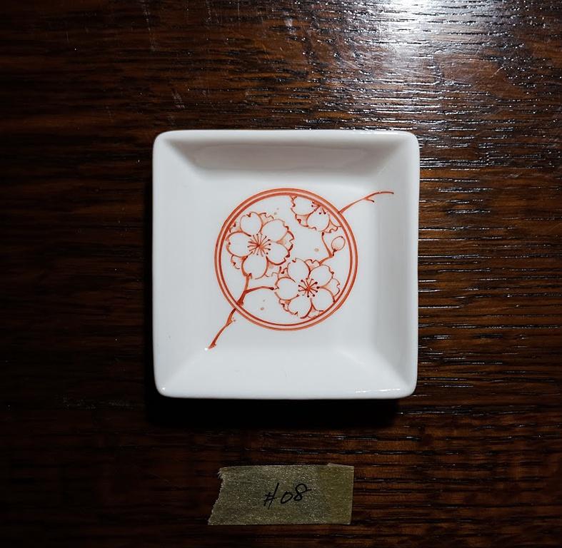 桜花白磁 小皿No.08