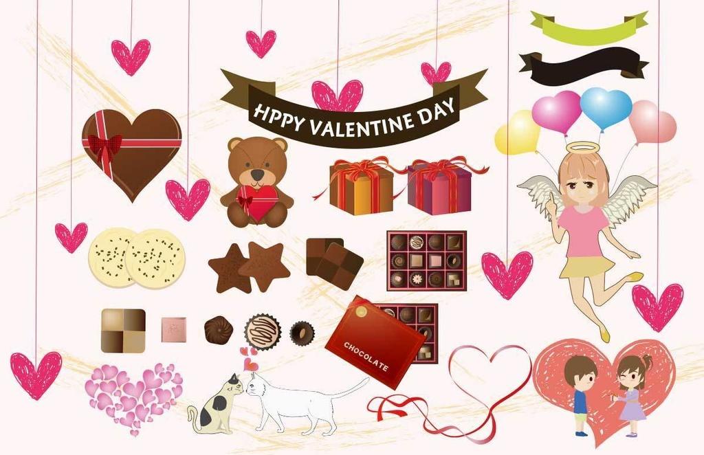 可愛いバレンタインベクター素材セット