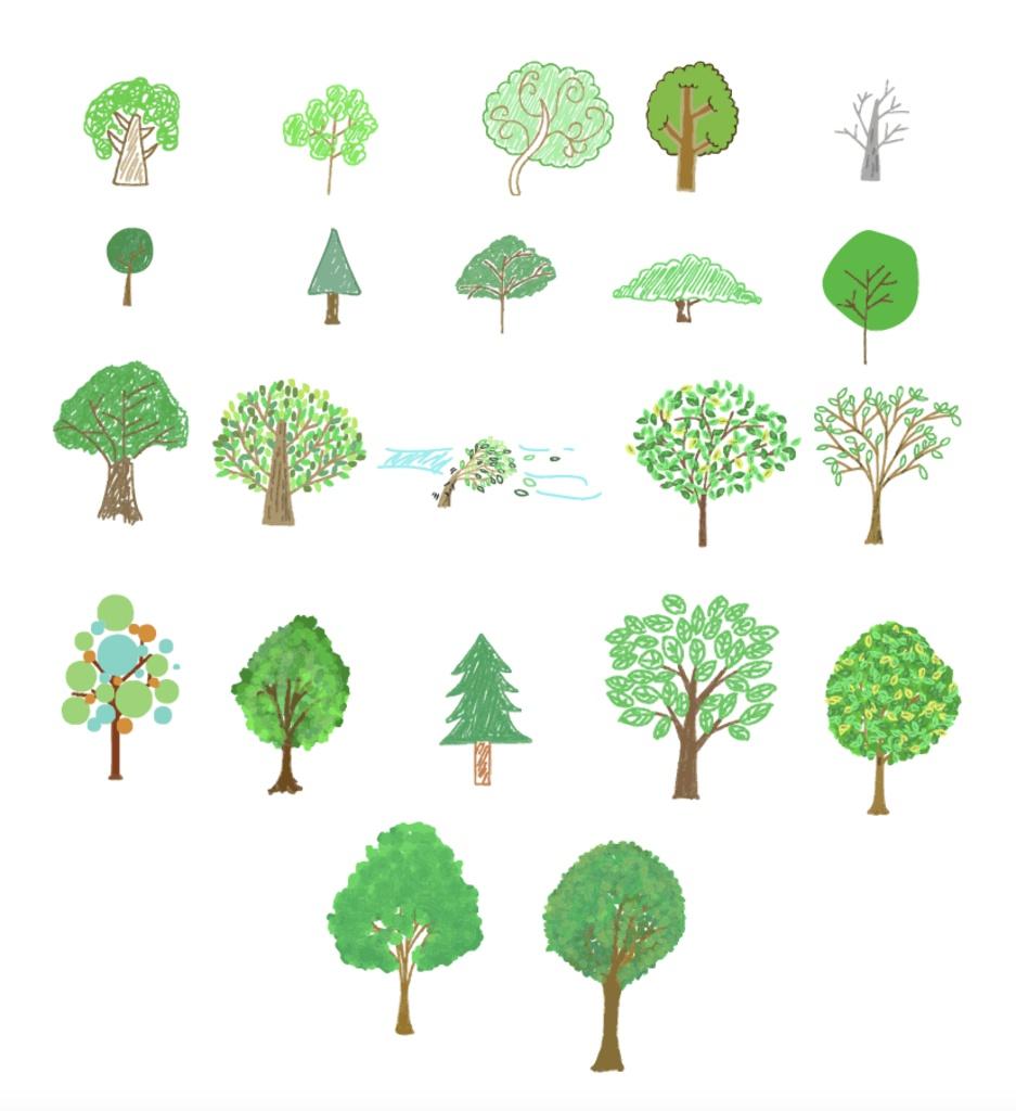 可愛い手書きの木のベクターイラスト素材cs6 Chicodeza Pixiv Booth