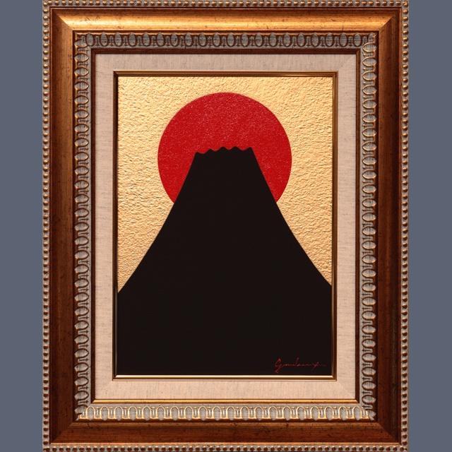 ○『金の背景の太陽と発展黒富士』○がんどうあつし絵画肉筆油絵開運富士山風水秘密運 - gandeaux - BOOTH