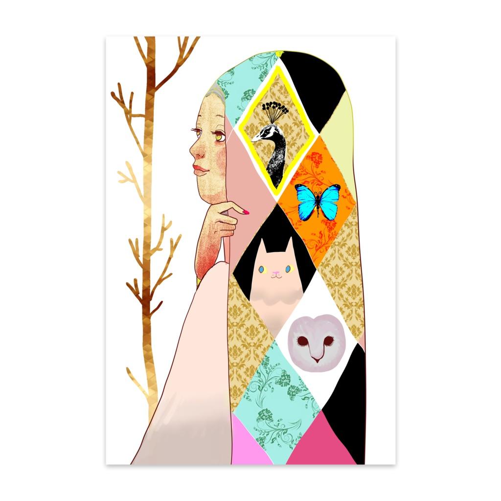 動物ショールの少女 ポストカード