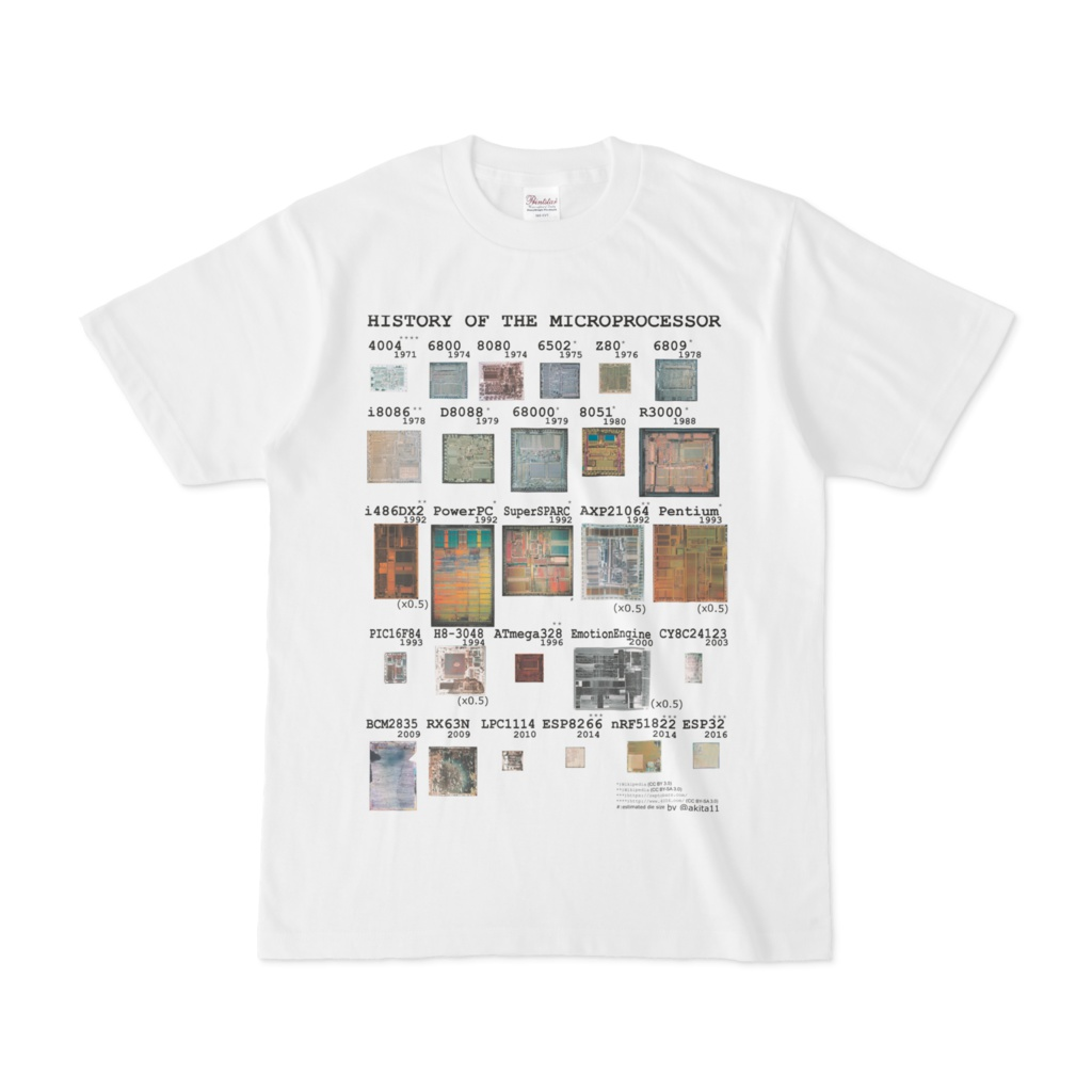 """""""History of Microprocessors"""" Tシャツ(カラー)"""
