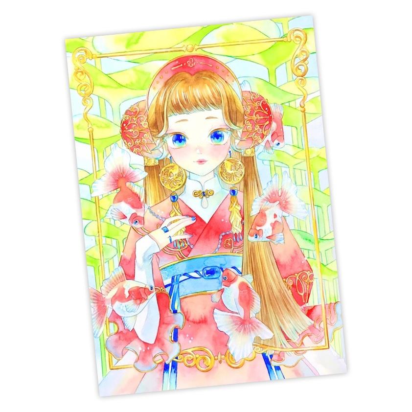 ポストカード 赤いお姫様