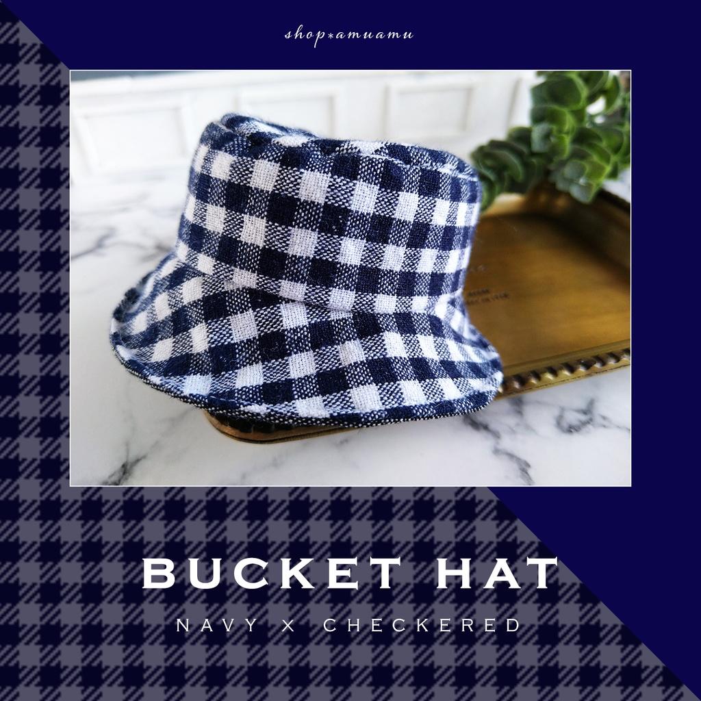 バケットハット(ネイビーチェック×デニム) 帽子 10cm用 12cm用 マスコット ぬいぐるみ