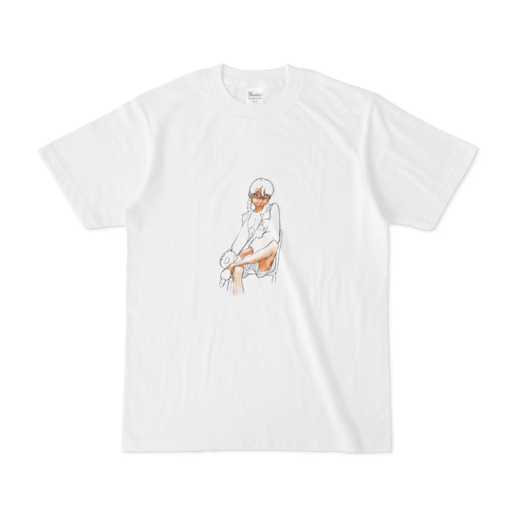 座り娘Tシャツ(白)