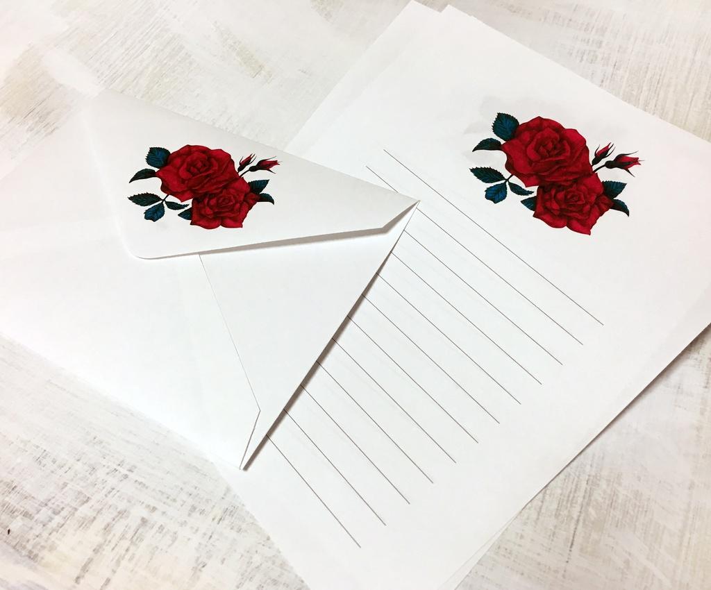 薔薇のレターセット