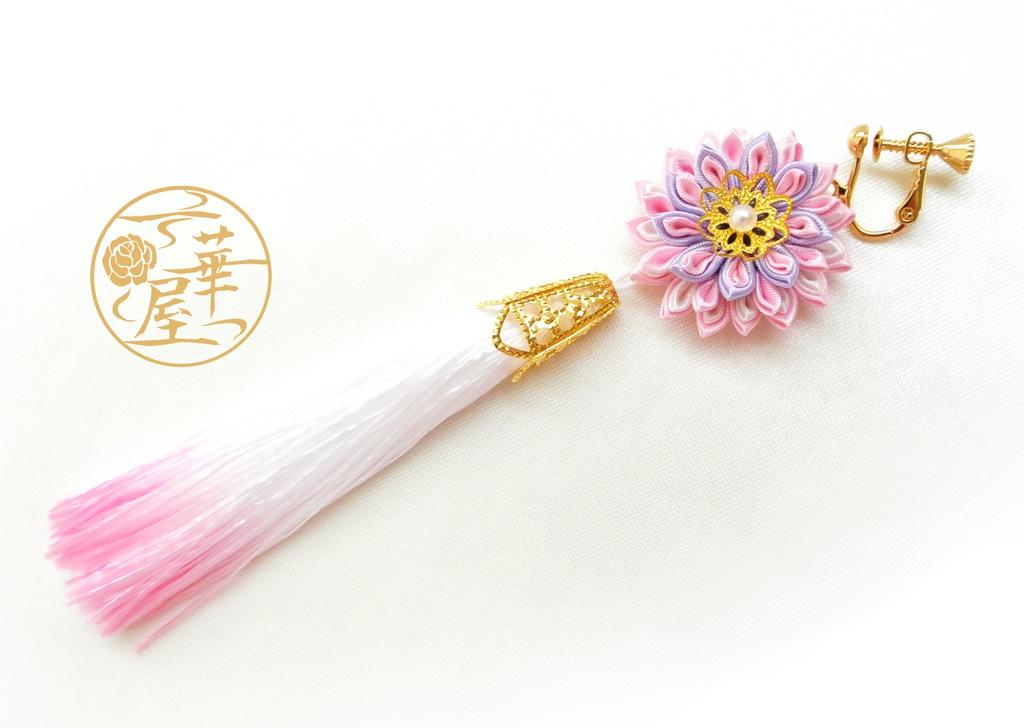 つまみ細工タッセルイヤリング(単品)/薄桜(ウスザクラ)