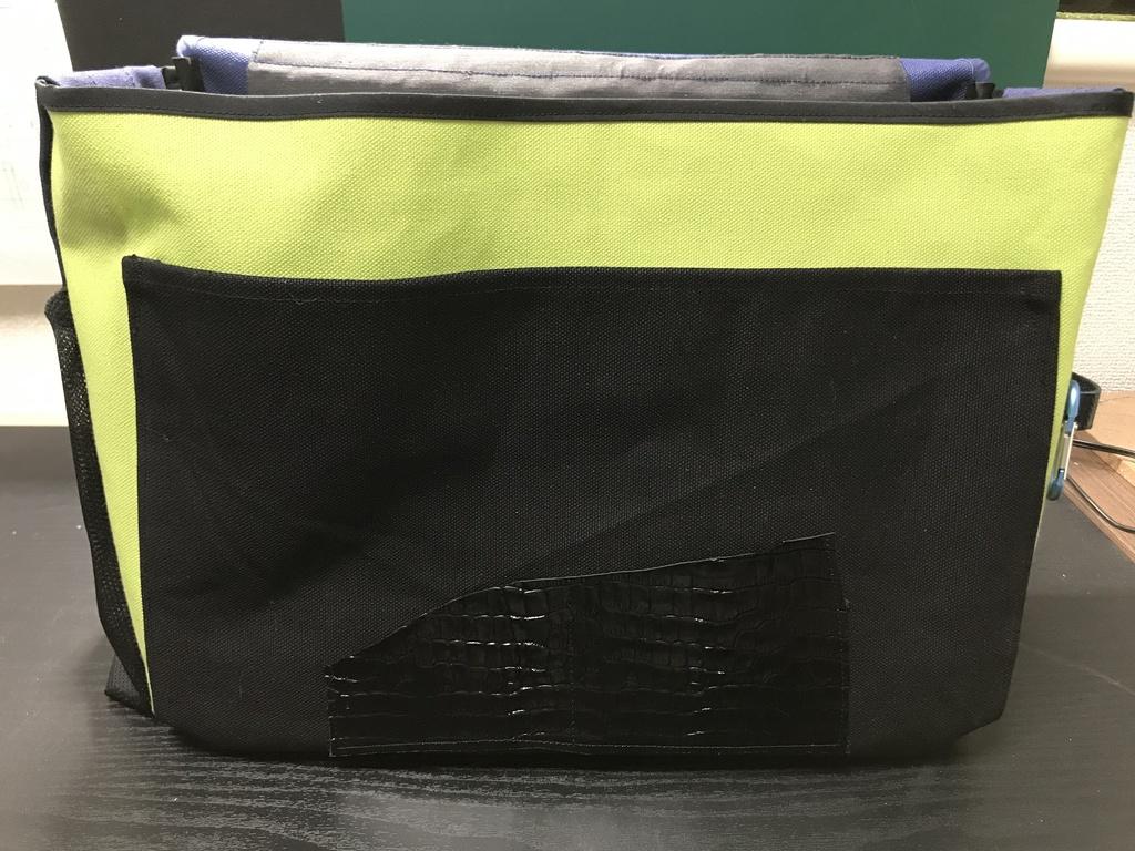 コミケ用バッグ 紺x黄緑