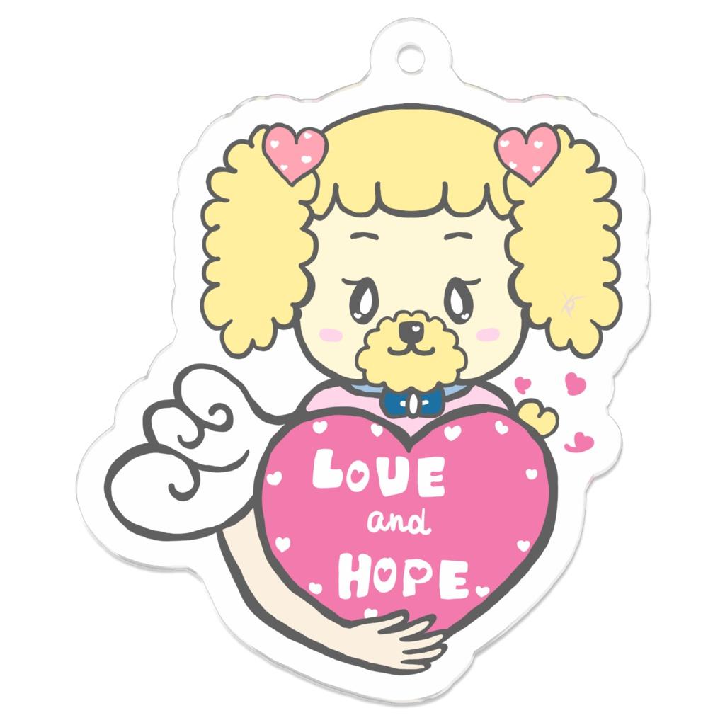 チャリティー☆ラブ&ホープ(愛と希望)プードルのポピちゃんアクキー