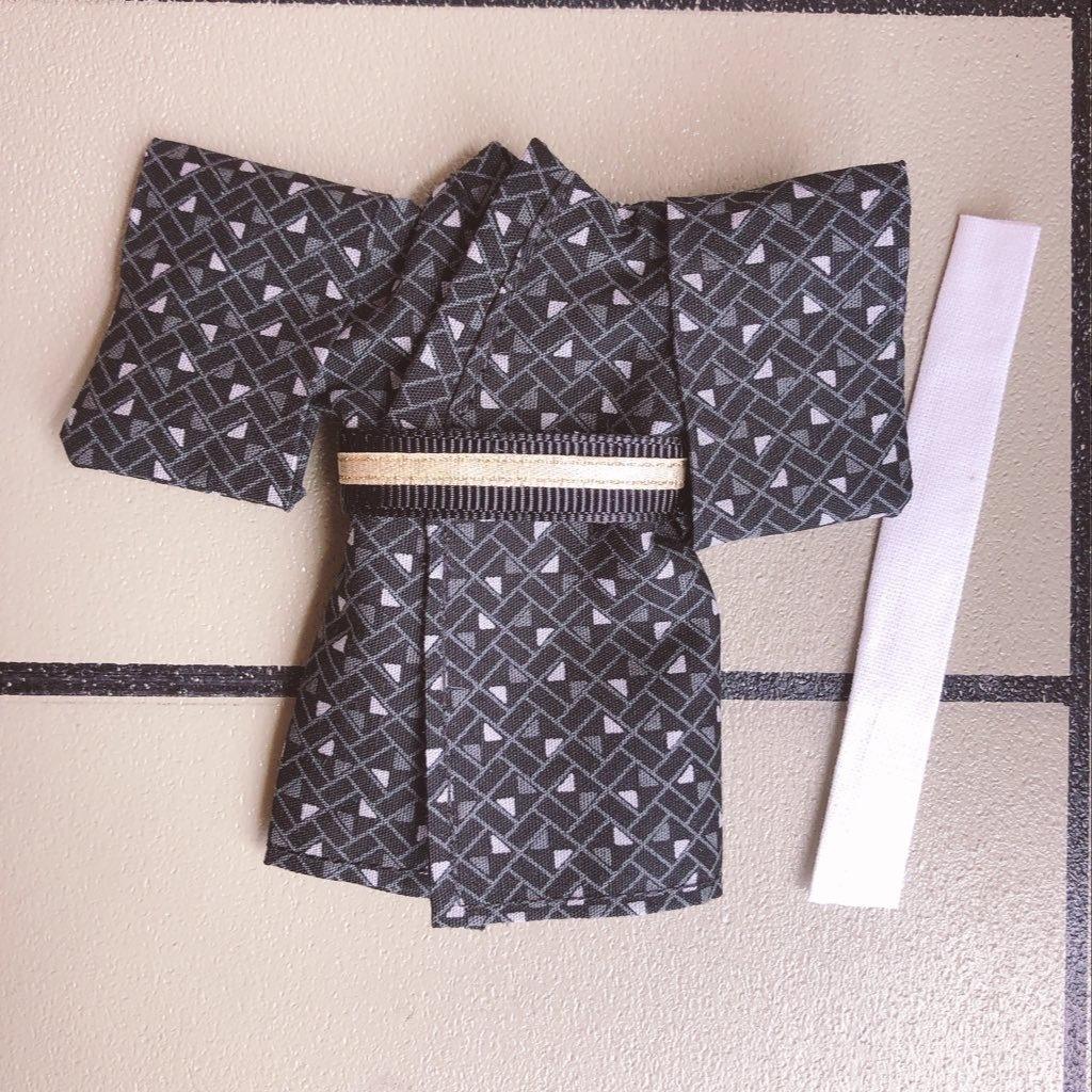 【浴衣・着物】🖤シックでカッコいい黒浴衣着物3点セット⭐︎オビツ11 ねんどろいどどーる