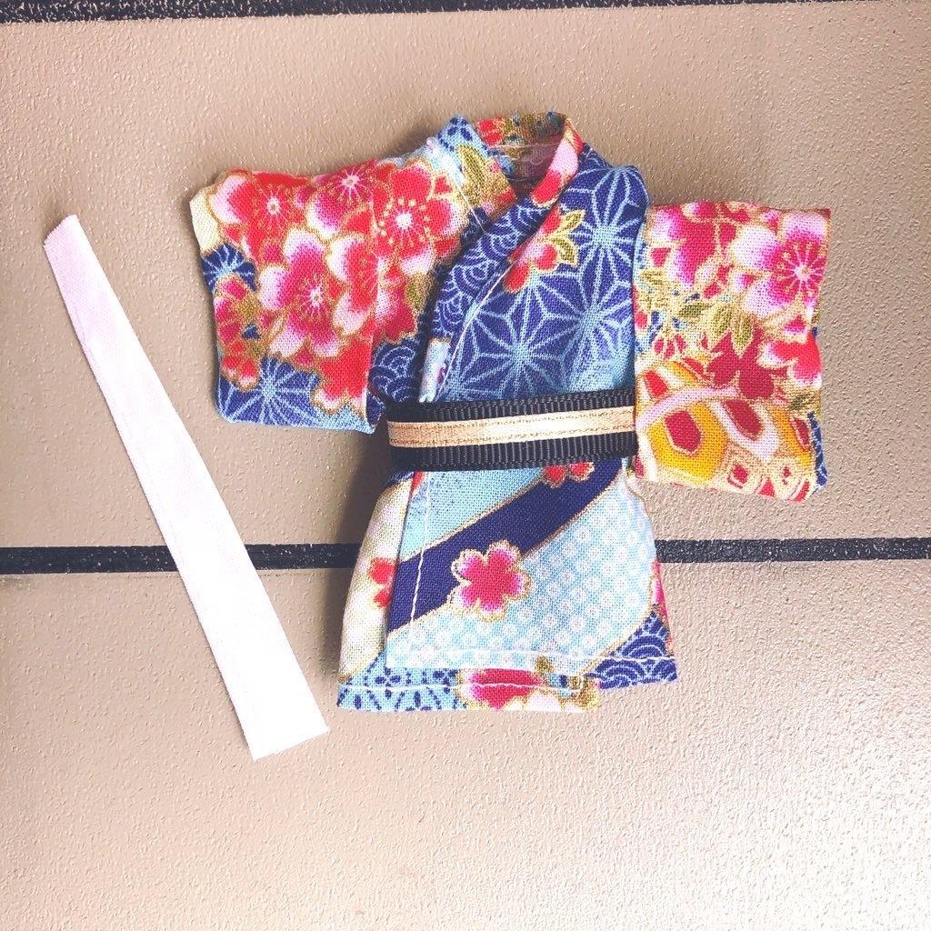 【浴衣・着物】🌸💙小桜いっばい華やかな浴衣着物3点セット⭐︎オビツ11 ねんどろいどどーる