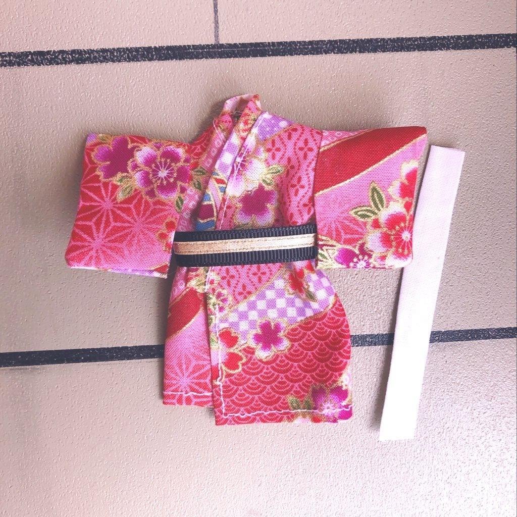 [【浴衣・着物】🌸❤️小桜いっばい華やかな浴衣着物3点セット⭐︎オビツ11 ねんどろいどどーる