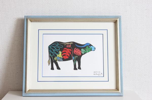 水牛 イラスト原画 額装のままお届けします。