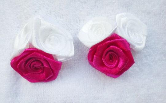 白とピンク薔薇のピアス(イヤリング)