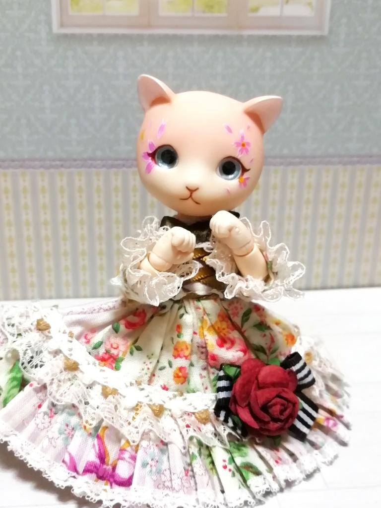 オビツ11ボディ用 ネコヘッド「桜」