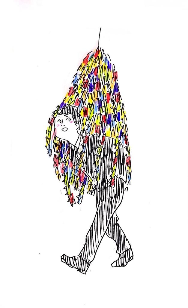 ポストカード「千羽鶴の下をくぐる人」