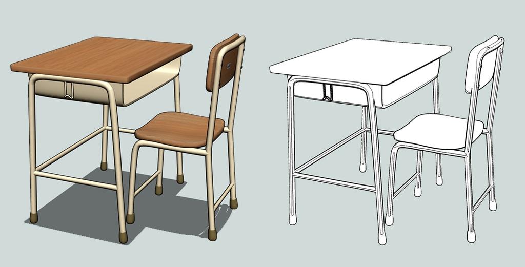 教室の机と椅子ver100fbx Moodee3d Booth