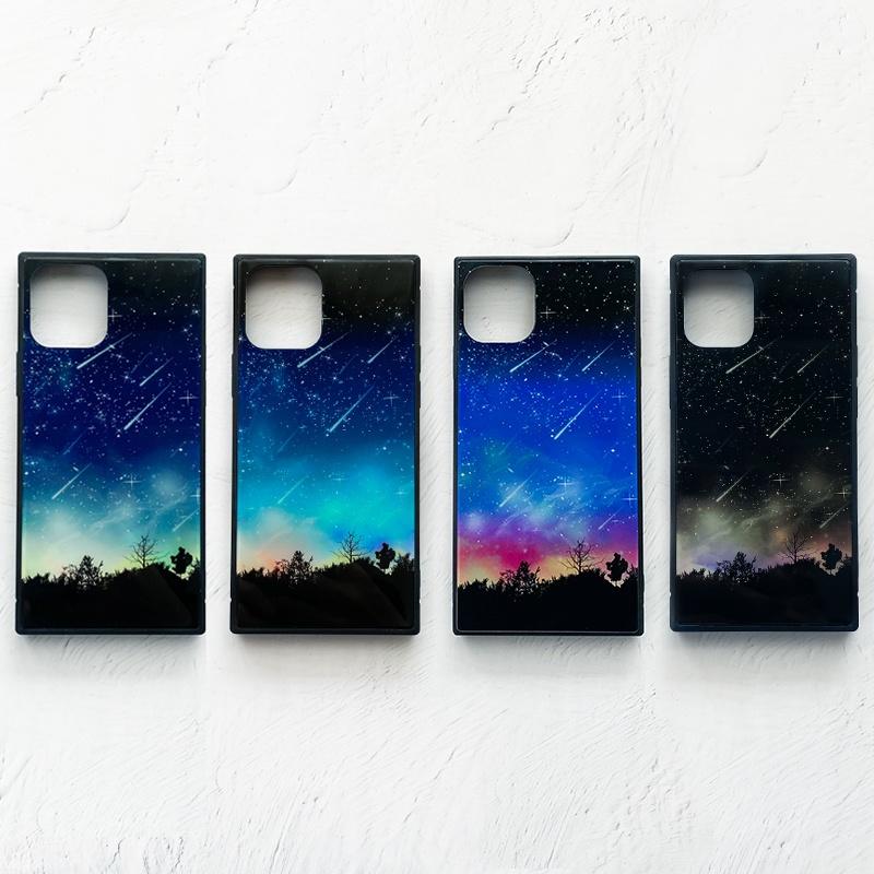 流星 iPhoneケース TPU スクエア型 強化ガラス