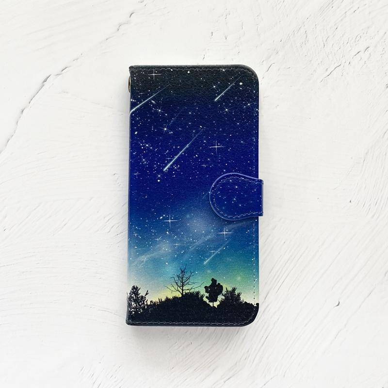 流星 手帳型 iPhoneケース スマホケース