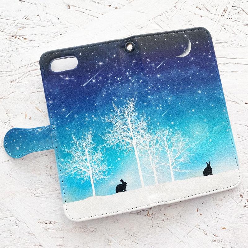 冬の星空(うさぎ) 手帳型 iPhoneケース スマホケース
