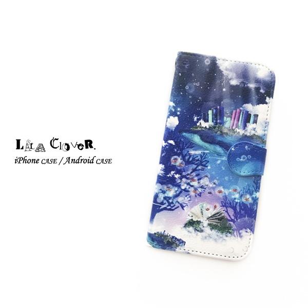 クジラ幻想世界 手帳型 iPhoneケース スマホケース