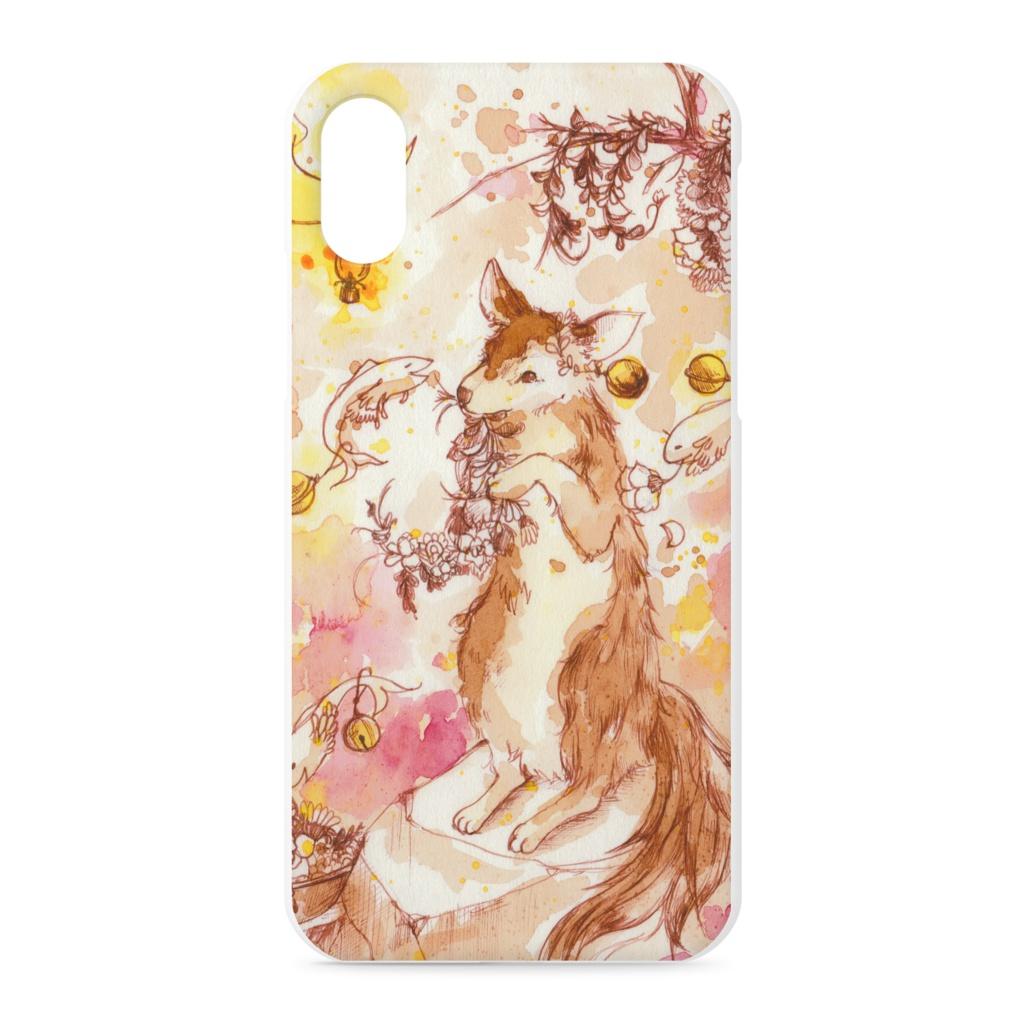月明かりの狼iphoneケース アート水彩イラスト雑貨colore