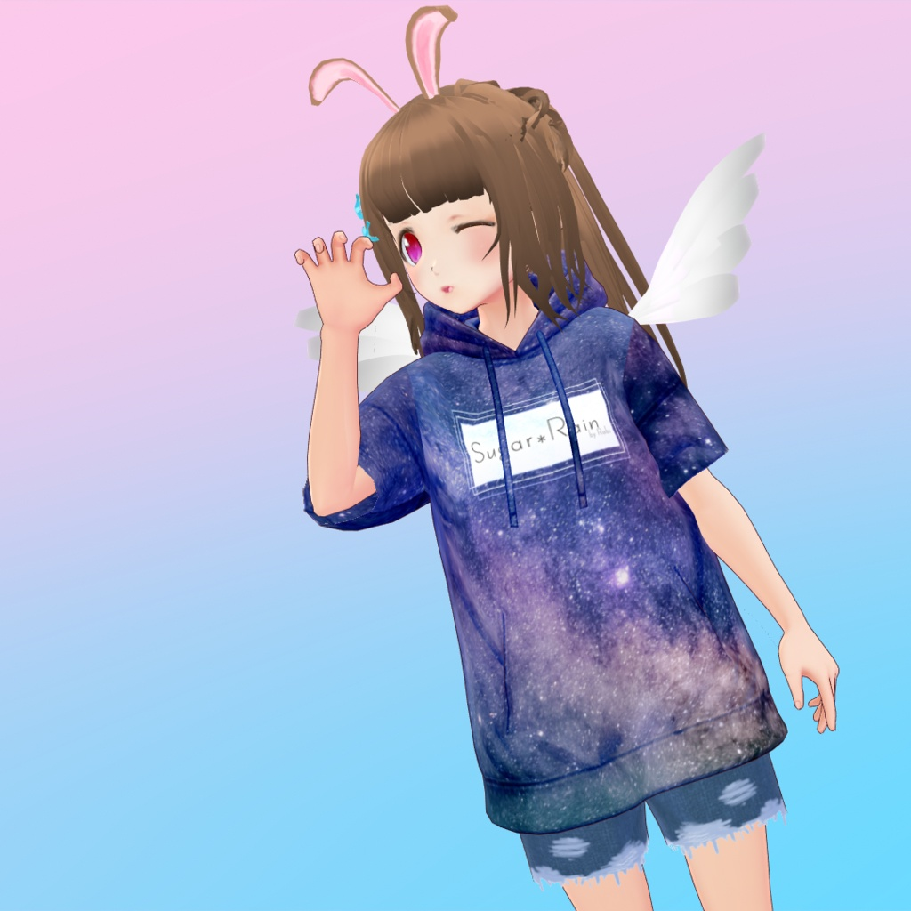 【無料あり!】宇宙パーカー&ショートダメージジーンズ