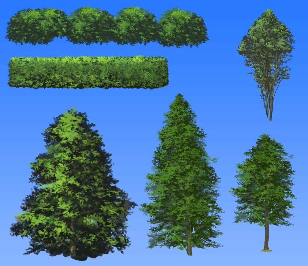 小さめのイラストの背景に使えるかもしれない「木セット」