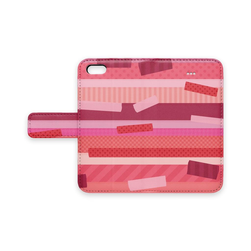 マスキングテープ風ケース ピンク