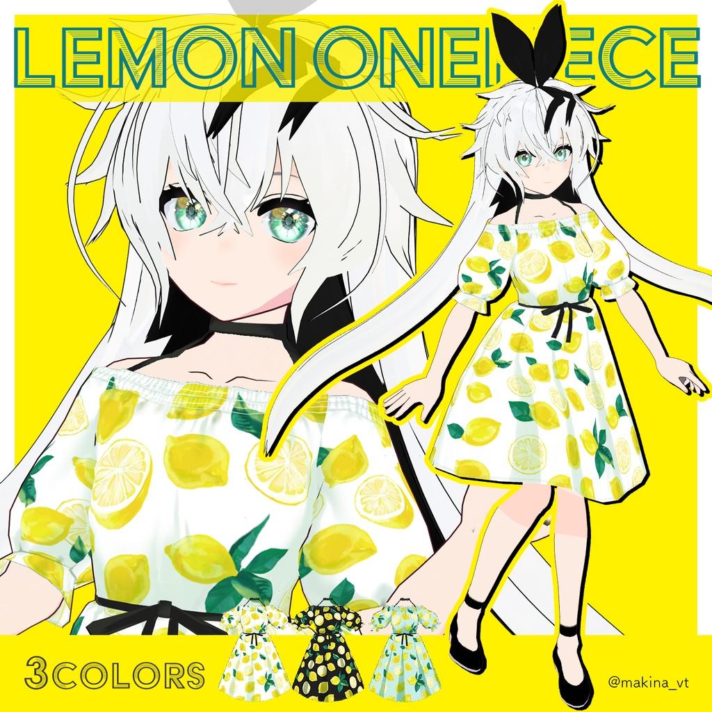 さわやかレモン柄ワンピース | #Vroid