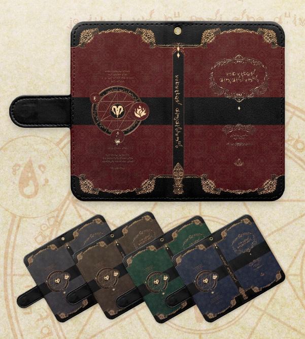 【Android/S/M/L/穴 あり】黒魔術書風 手帳型ケース