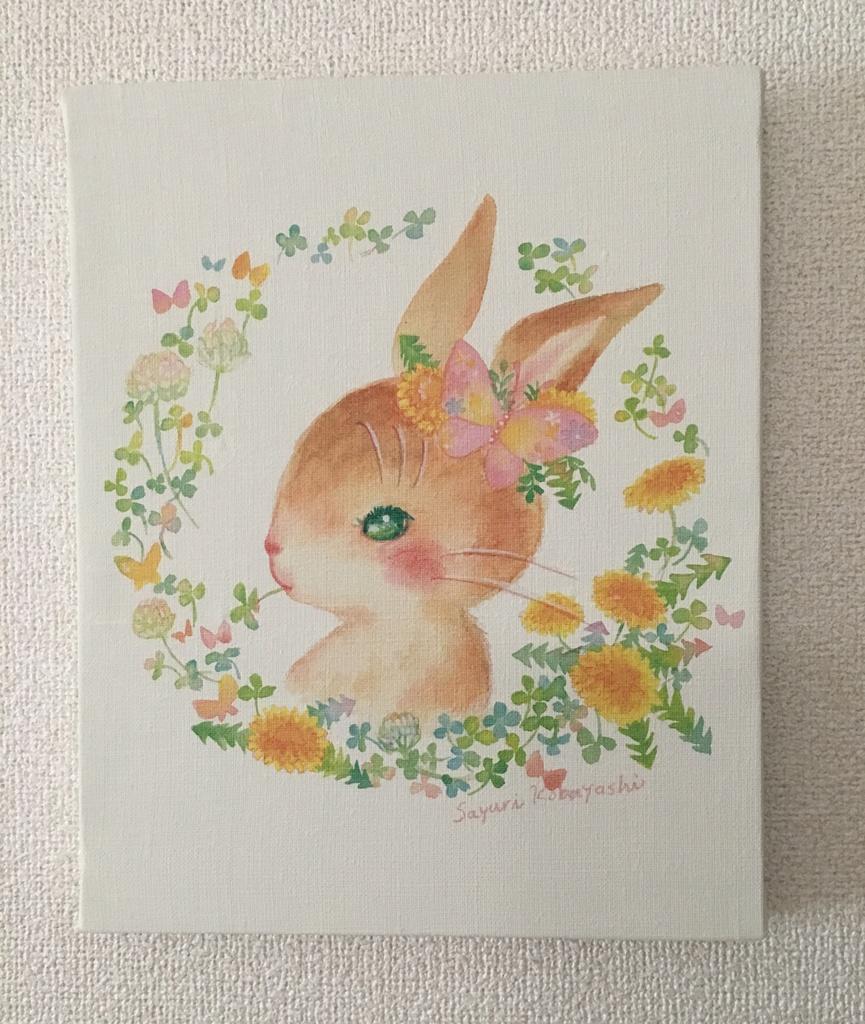 キャンバスアート「花のうさぎ」