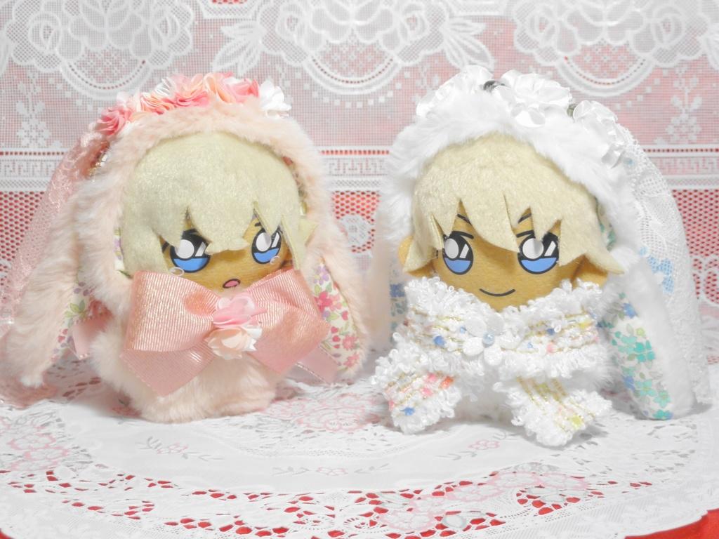 ぬいぐるみ用 花冠のうさぎの花嫁着ぐるみ ぬい服 2種ホワイト/ピンク