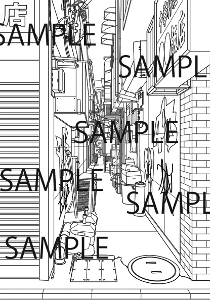 漫画背景素材「路地裏」