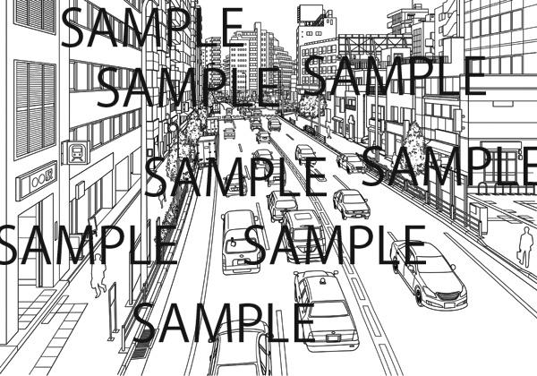 漫画背景素材「歩道橋から見下ろした道路」