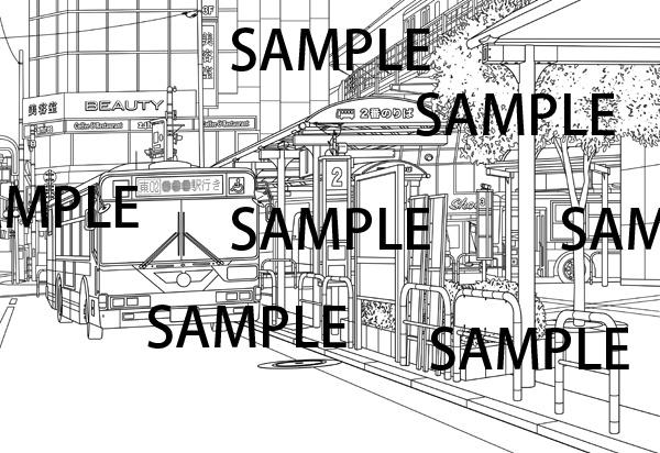 漫画背景素材「駅前バス乗り場」