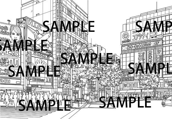 漫画背景素材「駅前繁華街(吉祥寺駅前)」