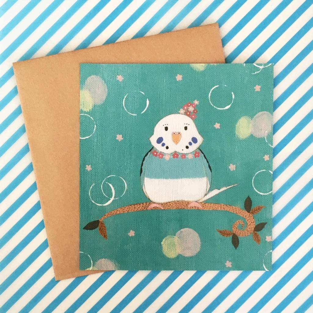 メッセージカード インコ (封筒・星のシール付き)