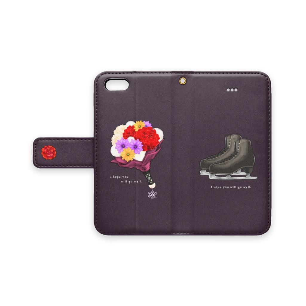 手帳型iPhoneケース【黒/赤バラ】
