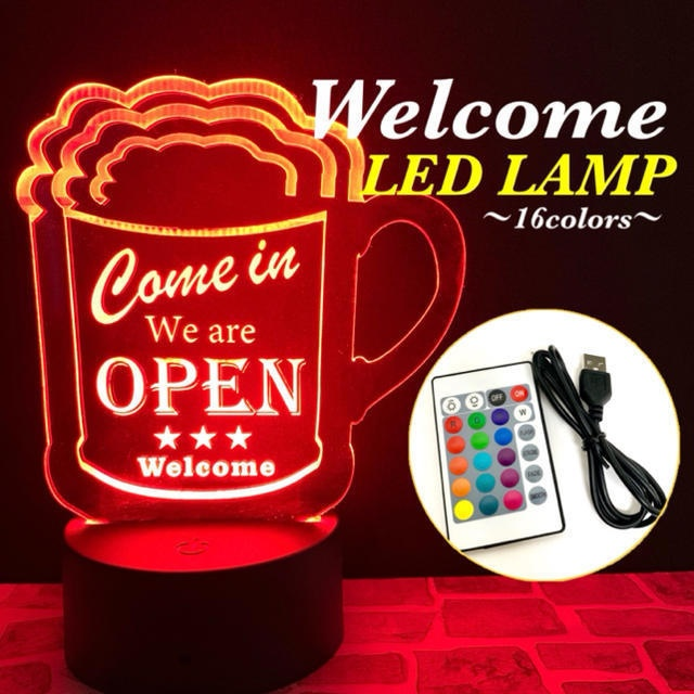 WELCOME アクリルプレート LEDランプ (全16色) ビールデザイン