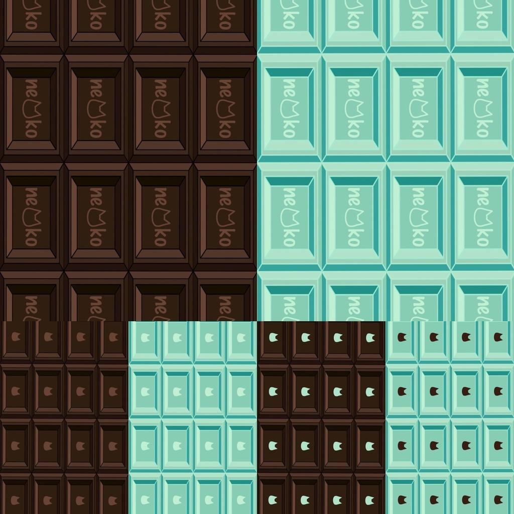 背景 壁紙 可愛い猫柄のチョコレート 板チョコ風 イラスト 6color 1500 2668 猫雑貨meru Mugi Booth