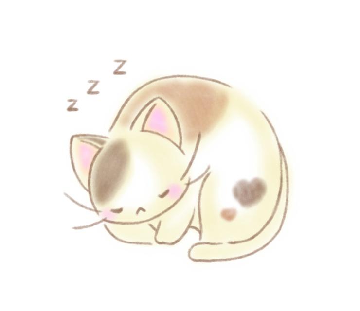 寝る 三毛猫